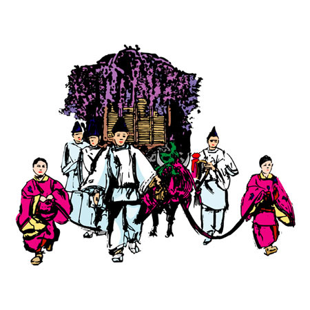 葵祭(京都府)【日本の伝統行事:筆絵:AI/EP... 葵祭(京都府)【日本の伝統行事:筆絵:A